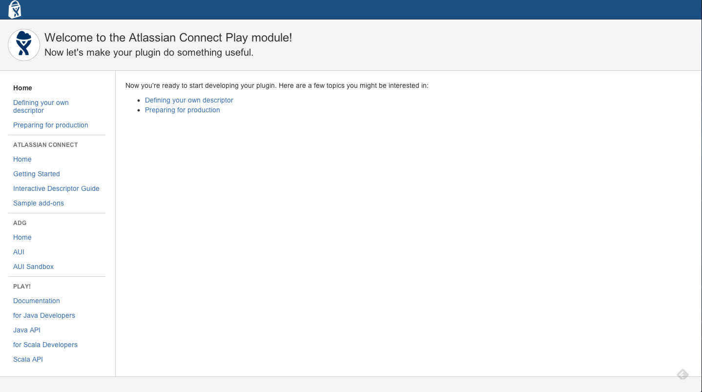 The Atlassian Connect Play Module home page