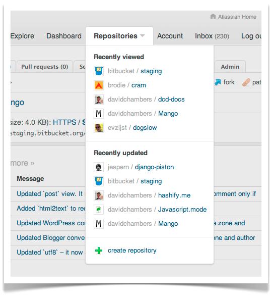 Bitbucket's new repositories drop-down