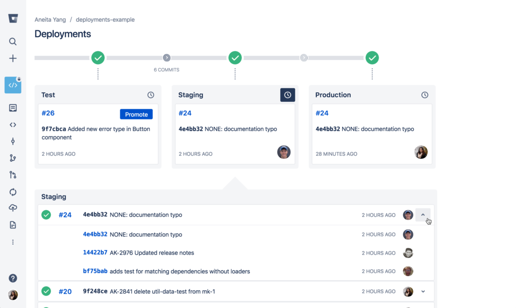 bitbucket deployments commits