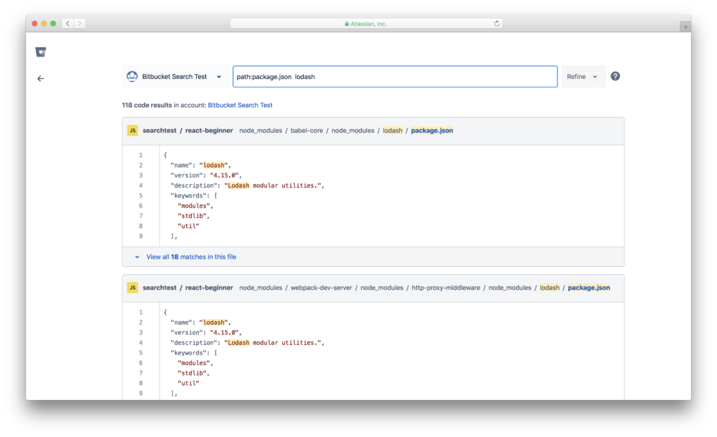 File search improvements in code aware search for Bitbucket Cloud