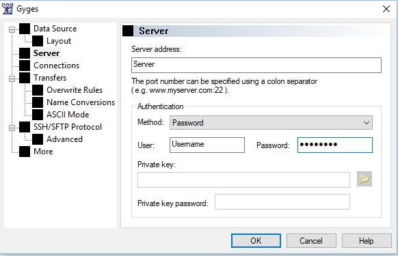 Screenshot of the BitKinex connection manager, showing server, username and password field locations
