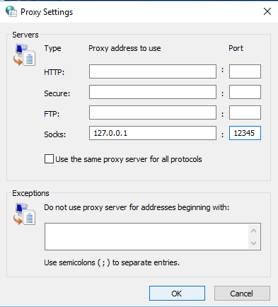 A screenshot of the Windows operating system proxy settings
