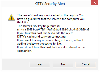 Image of a warning from Kitty. The text reads 'The server's host key is not cached in the registry. You have no guarantee that the server is the computer you think it is.'